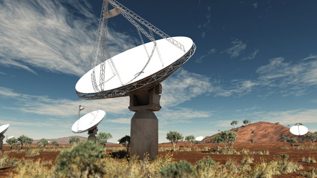 Artist's impression of SKA dishes (image: SKA Organisation/Swinburne Astronomy Productions)