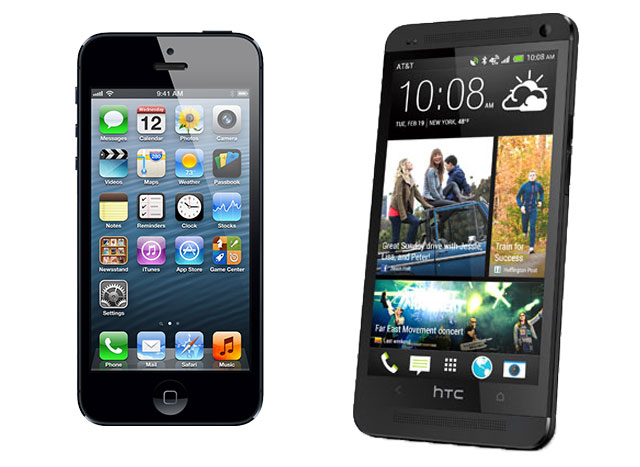 The Samsung Galaxy S4 will be up against phones like the iPhone 5, left, and the HTC One