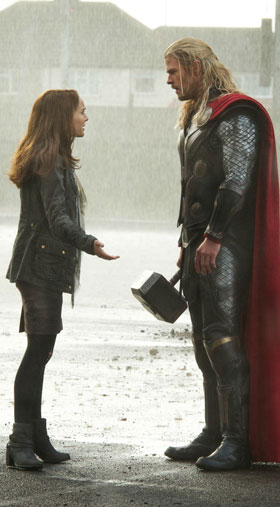 Thor gets an earful from earthling girlfriend Jane Foster (Natalie Portman)