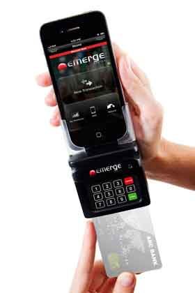 Emerge Mobile's M-POS terminal docked with an iPhone