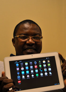 Lehlokoe with Seemahale's 10-inch tablet