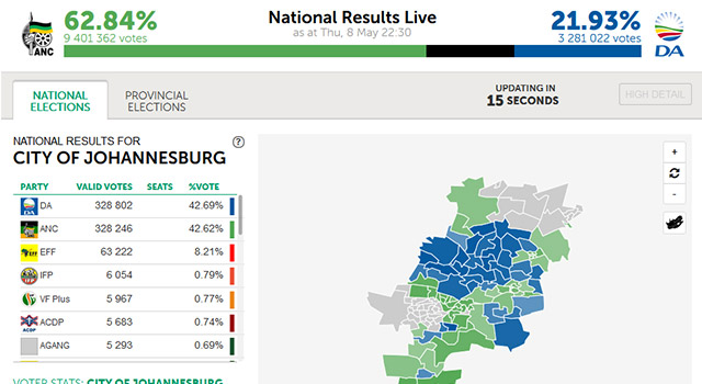 News24's interactive election maps drew live results data from the Electoral Commission of South Africa