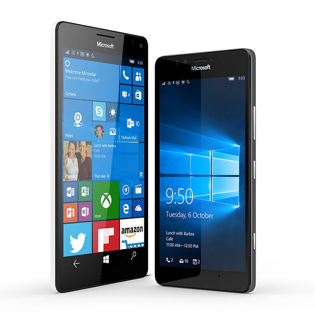 The Lumia 950 XL, left, with the smaller Lumia 950