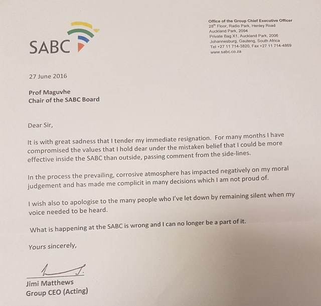 SABC CEO resigns: