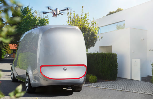 Mercedes-Benz Vision Concept Cargo Van Uses Drones to Deliver Packages